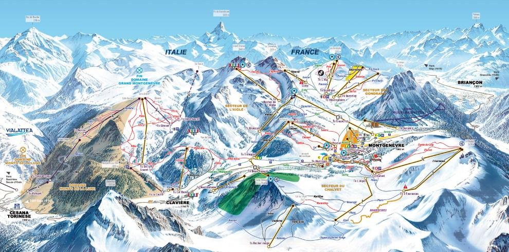 Plan des pistes du domaine skiable de Montgenèvre