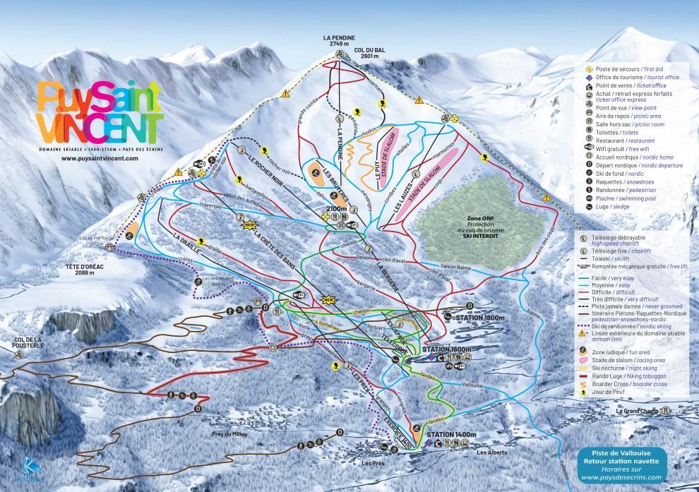 Plan des pistes du domaine skiable de Puy-Saint-Vincent