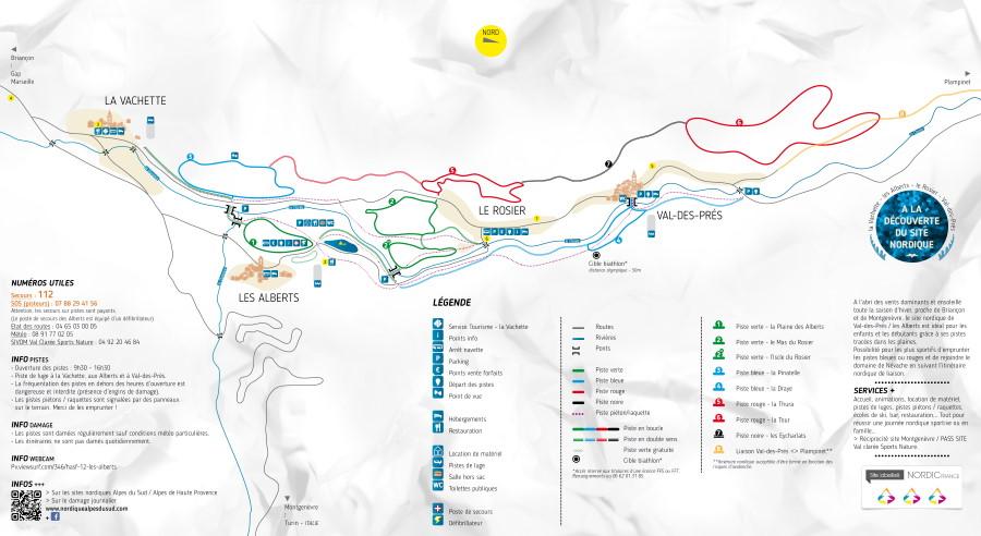 Plan des pistes du domaine skiable nordique de Les Alberts Val des Près