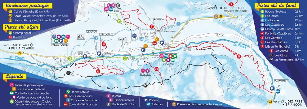 Plan des pistes du domaine skiable nordique de Névache Haute Clarée