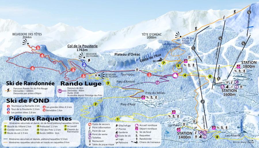 Plan des pistes du domaine skiable nordique de Puy Saint Vincent