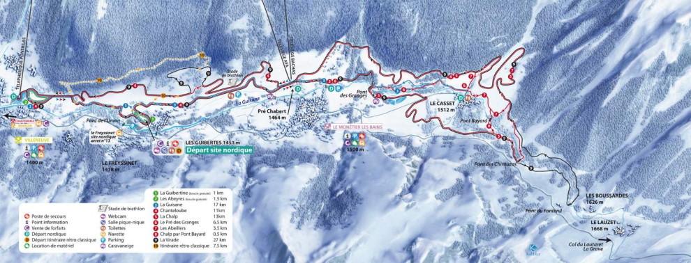 Plan des pistes du domaine skiable nordique de Serre Chevalier
