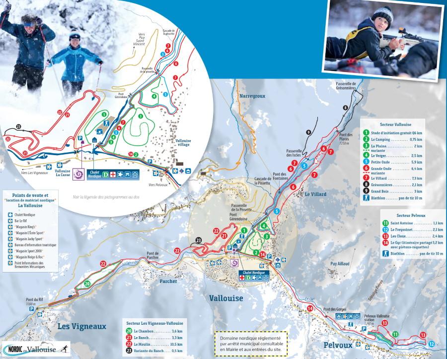 Plan des pistes du domaine skiable nordique de Vallouise