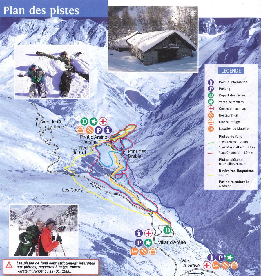 Plan des pistes du domaine skiable nordique de Villar d'Arène Pays de la Meije